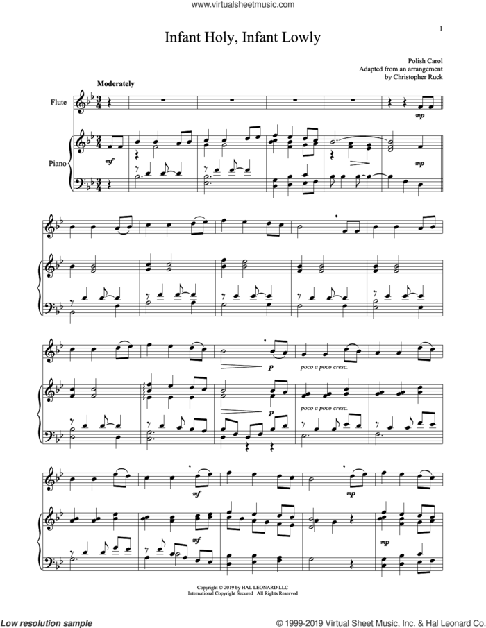 Infant Holy, Infant Lowly sheet music for flute and piano by Edith M.G. Reed and Miscellaneous, intermediate skill level