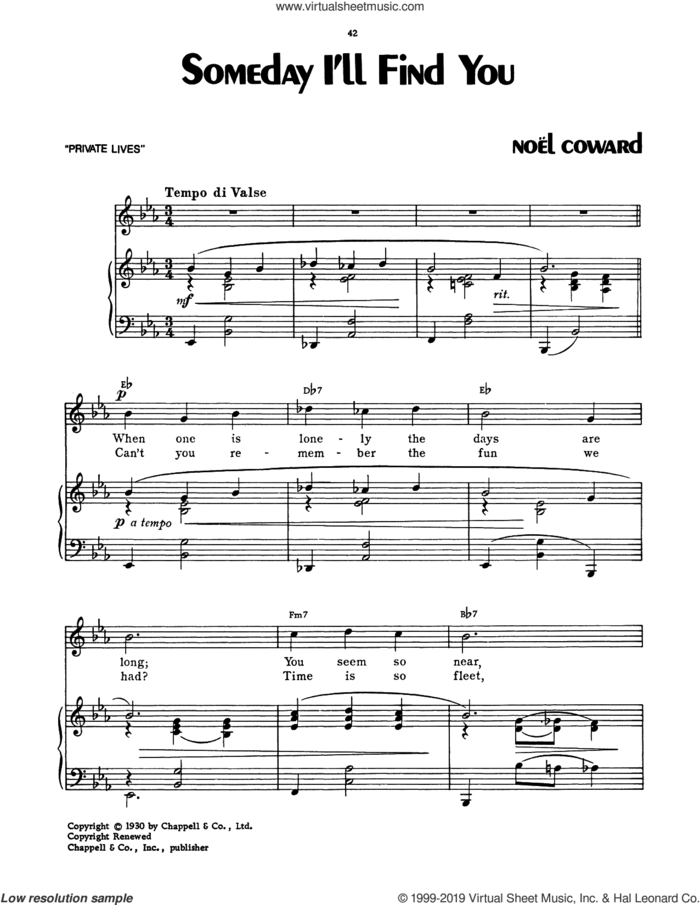 Someday I'll Find You sheet music for voice, piano or guitar by Noel Coward, intermediate skill level