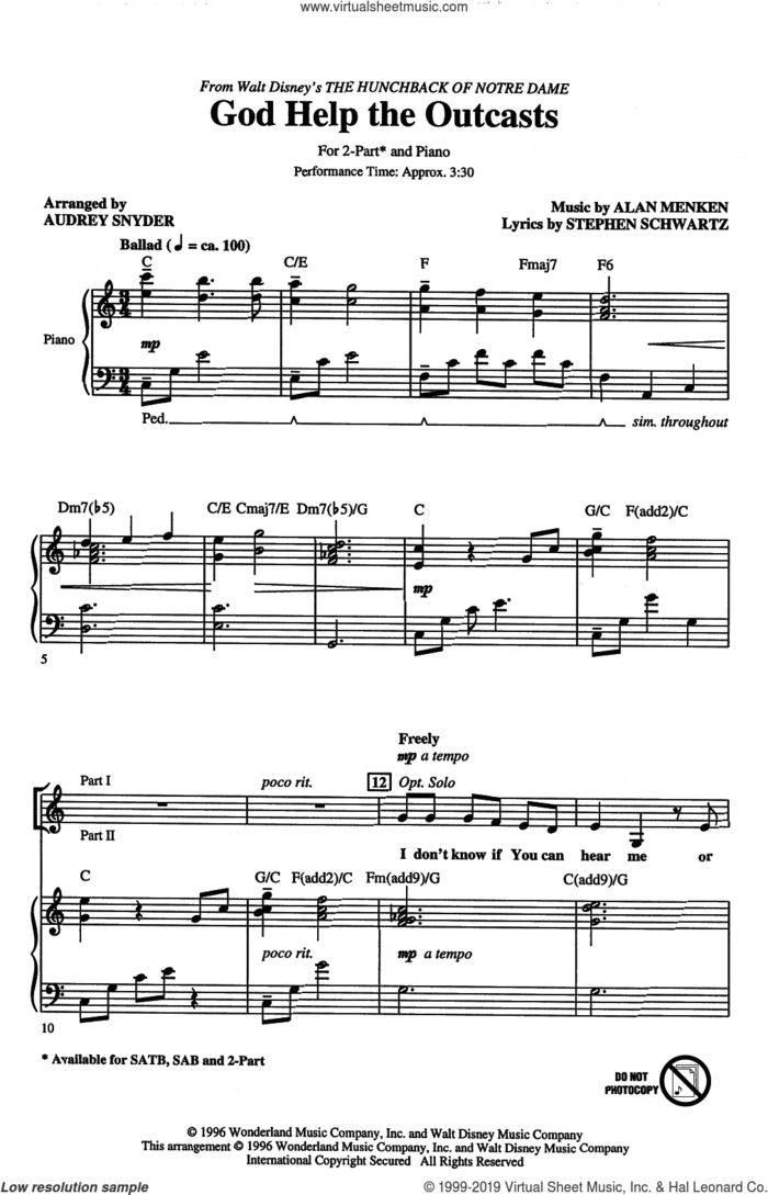 God Help The Outcasts (from The Hunchback Of Notre Dame) (arr. Audrey Snyder) sheet music for choir (2-Part) by Bette Midler, Audrey Snyder, Alan Menken and Stephen Schwartz, intermediate duet