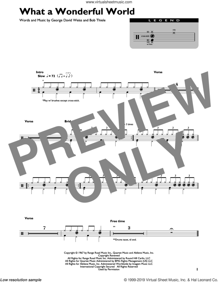 What A Wonderful World sheet music for drums (percussions) by Louis Armstrong, Bob Thiele and George David Weiss, intermediate skill level