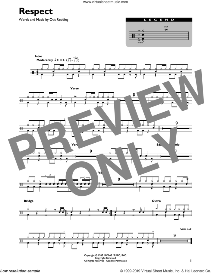Respect sheet music for drums (percussions) by Aretha Franklin and Otis Redding, intermediate skill level
