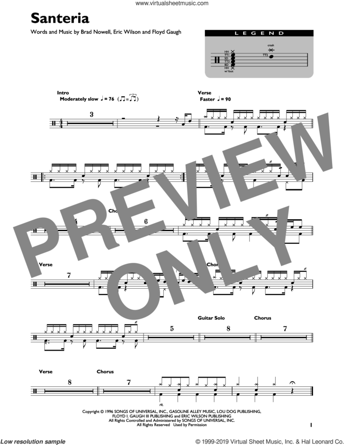 Santeria sheet music for drums (percussions) by Sublime, Brad Nowell, Eric Wilson and Floyd Gaugh, intermediate skill level