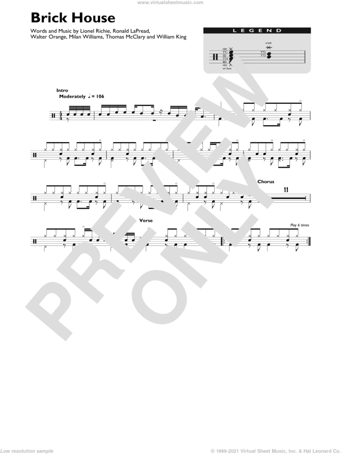 Brick House sheet music for drums (percussions) by Lionel Richie, The Commodores, Milan Williams, Ronald LaPread, Thomas McClary, Walter Orange and William King, intermediate skill level