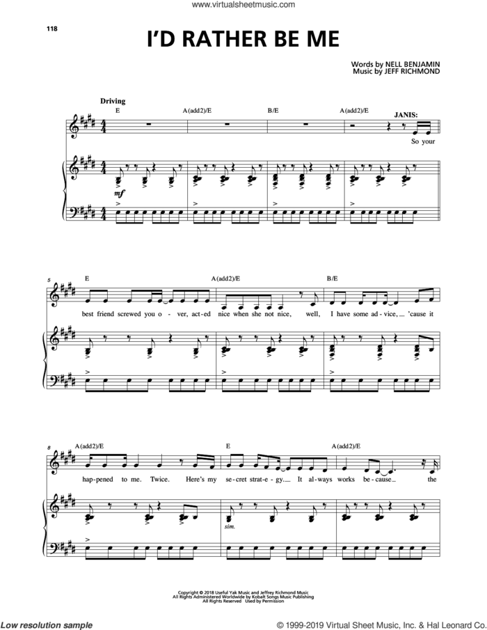 I'd Rather Be Me (from Mean Girls: The Broadway Musical) sheet music for voice and piano by Nell Benjamin, Jeff Richmond and Jeff Richmond & Nell Benjamin, intermediate skill level