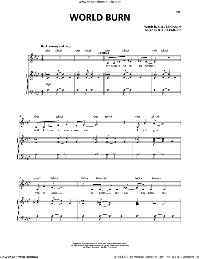 World Burn (from Mean Girls: The Broadway Musical) sheet music for voice and piano by Nell Benjamin, Jeff Richmond and Jeff Richmond & Nell Benjamin, intermediate skill level