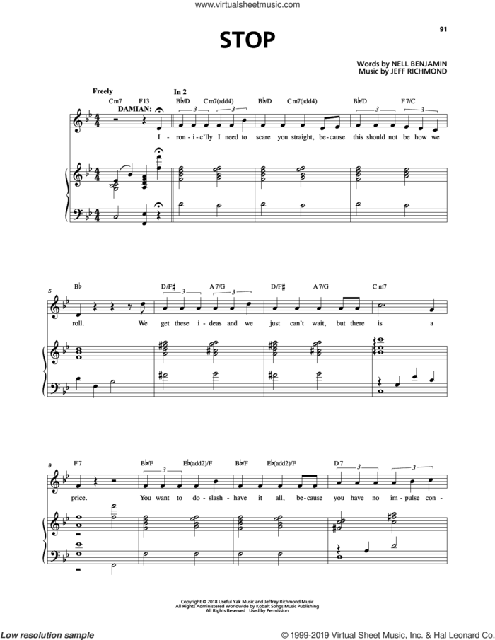 Stop (from Mean Girls: The Broadway Musical) sheet music for voice and piano by Nell Benjamin, Jeff Richmond and Jeff Richmond & Nell Benjamin, intermediate skill level