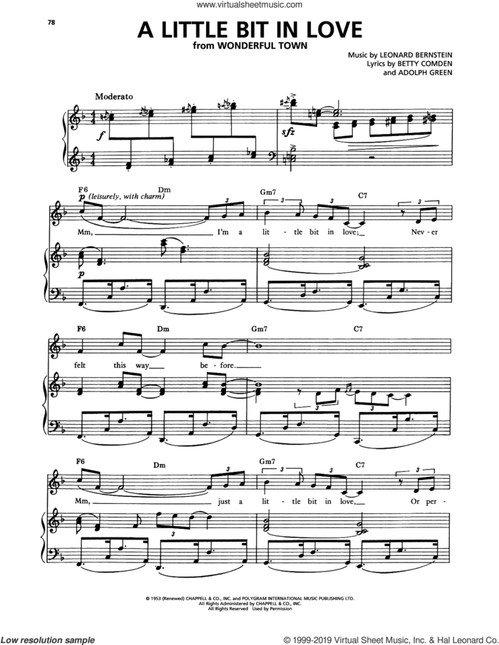 A Little Bit In Love (from Wonderful Town) sheet music for voice and piano by Audra McDonald, Adolph Green, Betty Comden and Leonard Bernstein, intermediate skill level