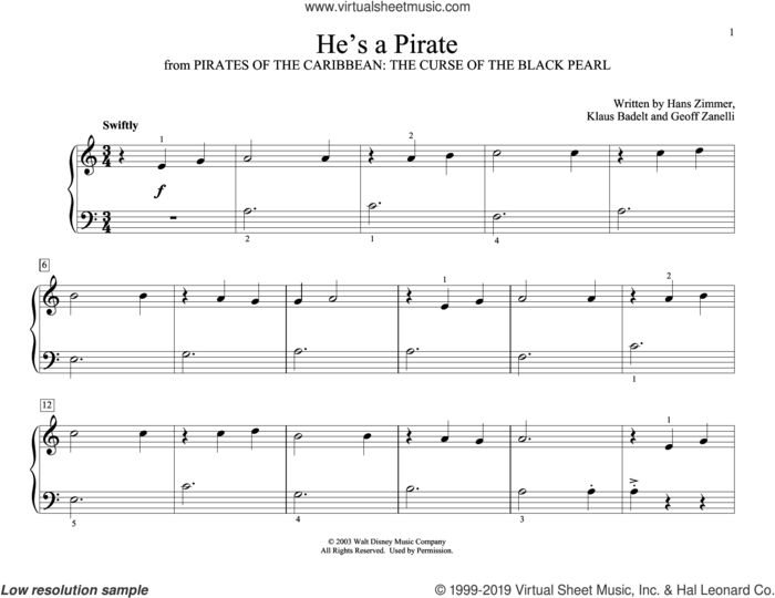 He's A Pirate (from Pirates Of The Caribbean: The Curse of the Black Pearl, arr. Christopher Hussey) sheet music for piano solo (elementary) by Hans Zimmer, Christopher Hussey, Geoffrey Zanelli and Klaus Badelt, beginner piano (elementary)