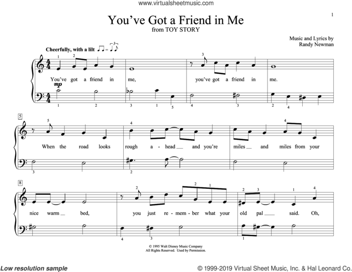 You've Got A Friend In Me (from Toy Story) (arr. Christopher Hussey) sheet music for piano solo (elementary) by Randy Newman and Christopher Hussey, beginner piano (elementary)