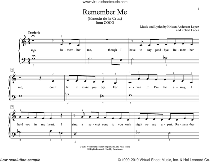 Remember Me (Ernesto de la Cruz) (from Coco) (arr. Christopher Hussey) sheet music for piano solo (elementary) by Robert Lopez, Christopher Hussey, Kristen Anderson-Lopez and Kristen Anderson-Lopez & Robert Lopez, beginner piano (elementary)