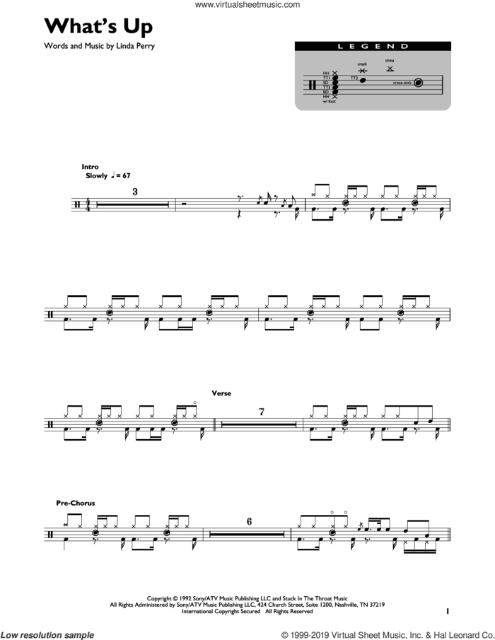 What's Up sheet music for drums (percussions) by 4 Non Blondes and Linda Perry, intermediate skill level
