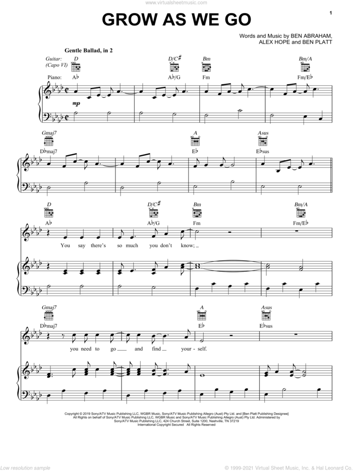 Grow As We Go sheet music for voice, piano or guitar by Ben Platt, Alex Hope and Ben Abraham, intermediate skill level