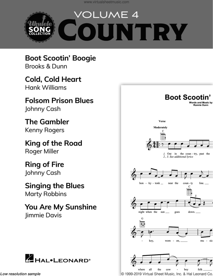 Ukulele Song Collection, Volume 4: Country sheet music for ukulele solo (collection), easy ukulele (collection)
