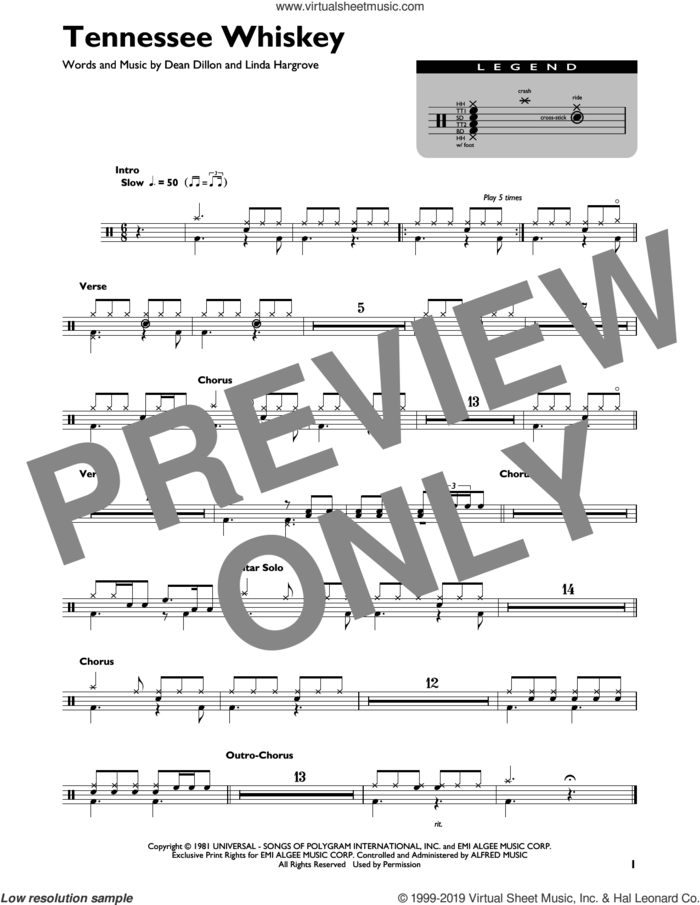 Tennessee Whiskey sheet music for drums (percussions) by Chris Stapleton, Dean Dillon and Linda Hargrove, intermediate skill level