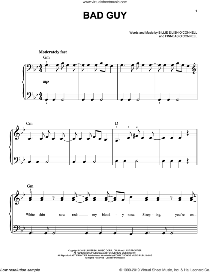 bad guy, (easy) sheet music for piano solo by Billie Eilish, easy skill level