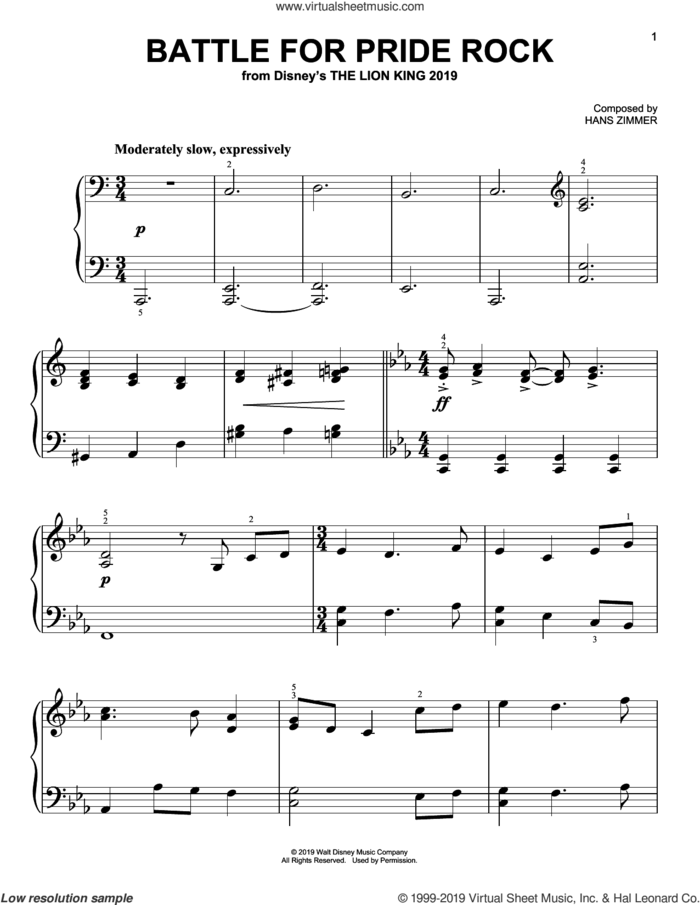 Battle For Pride Rock (from The Lion King 2019) sheet music for piano solo by Hans Zimmer, easy skill level