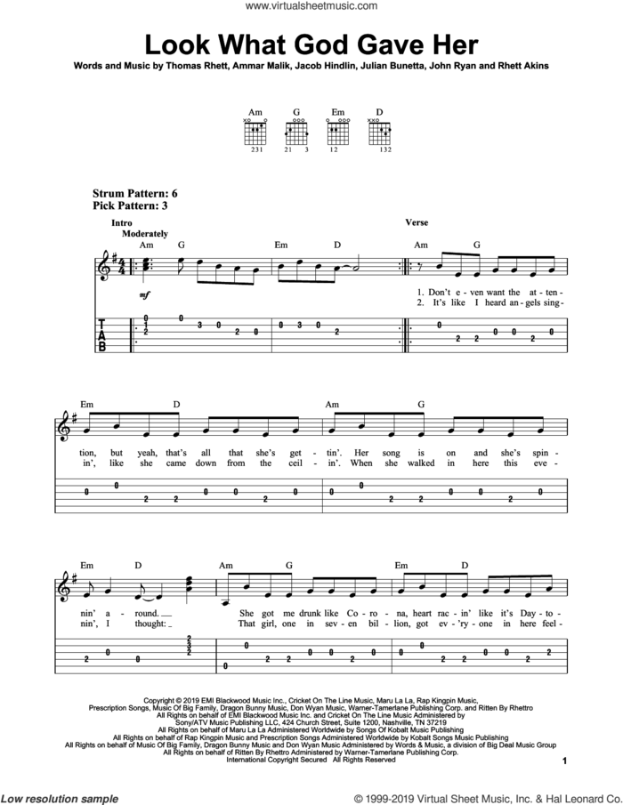Look What God Gave Her sheet music for guitar solo (easy tablature) by Thomas Rhett, Ammar Malik, Jacob Kasher Hindlin, John Ryan, Julian Bunetta and Rhett Akins, easy guitar (easy tablature)