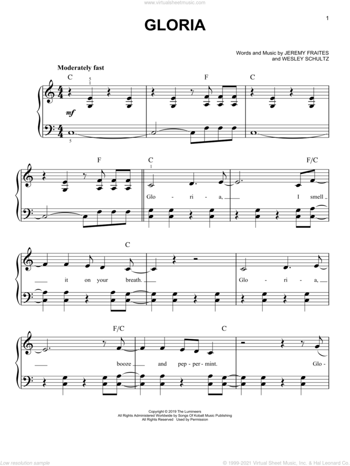 Gloria sheet music for piano solo by The Lumineers, Jeremy Fraites and Wesley Schultz, easy skill level