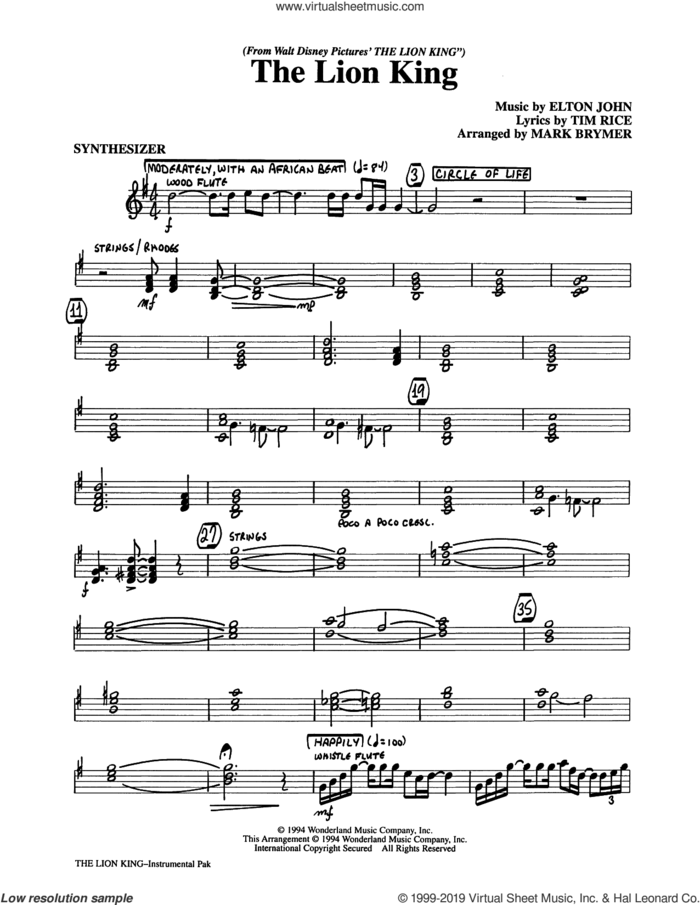 The Lion King (Medley) (arr. Mark Brymer) (complete set of parts) sheet music for orchestra/band by Elton John, Mark Brymer and Tim Rice, intermediate skill level