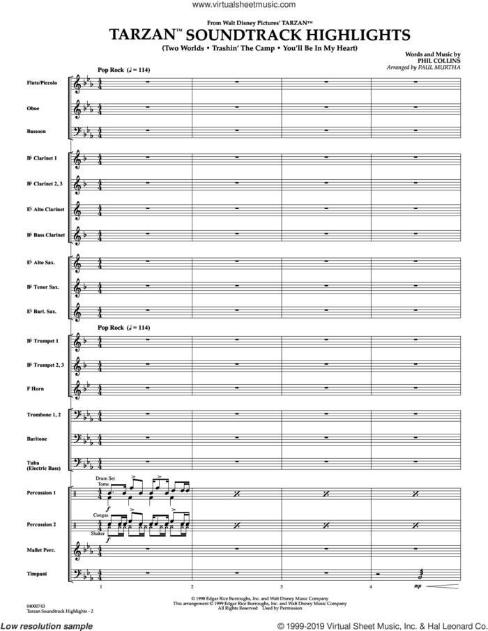 Tarzan Soundtrack Highlights (from Disney's Tarzan) (arr. Paul Murtha) (COMPLETE) sheet music for concert band by Paul Murtha and Phil Collins, intermediate skill level