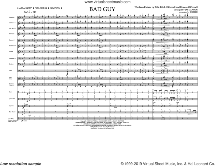 Bad Guy (arr. Jay Dawson) (complete set of parts) sheet music for marching band by Billie Eilish and Jay Dawson, intermediate skill level