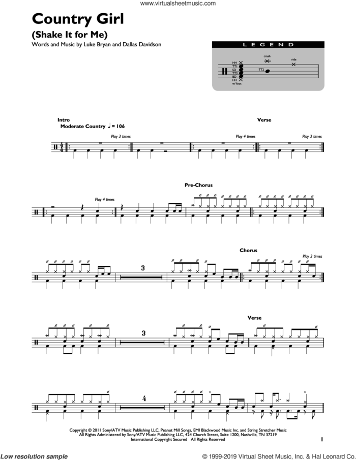 Country Girl (Shake It For Me) sheet music for drums (percussions) by Luke Bryan and Dallas Davidson, intermediate skill level