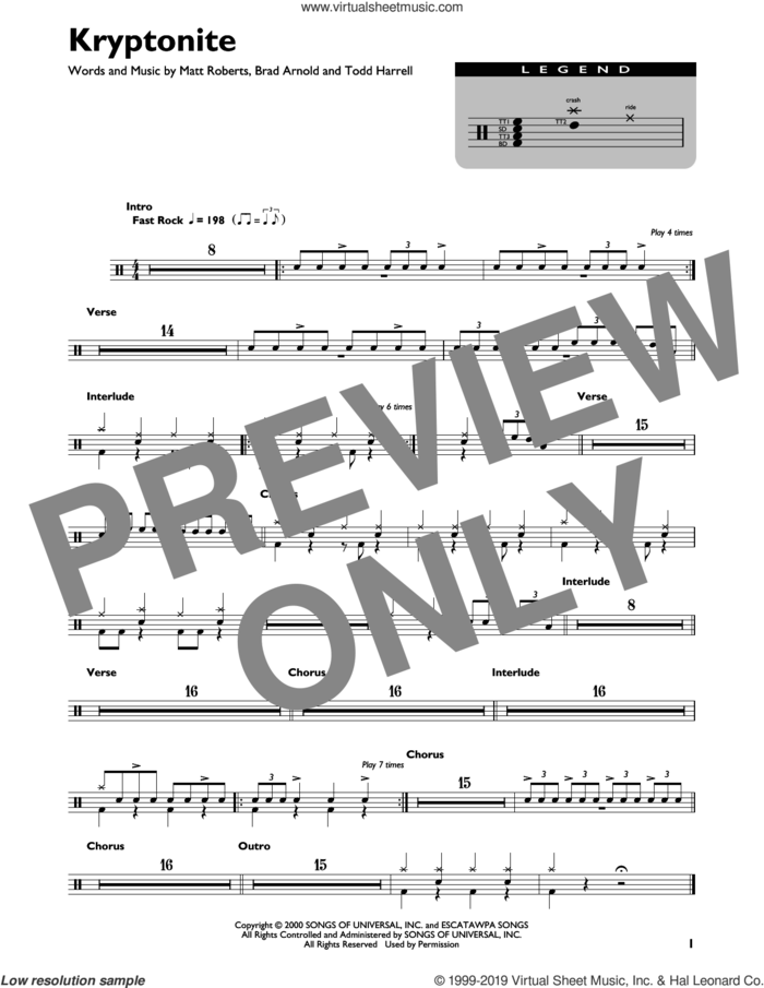 Kryptonite sheet music for drums (percussions) by 3 Doors Down, Brad Arnold, Matt Roberts and Todd Harrell, intermediate skill level