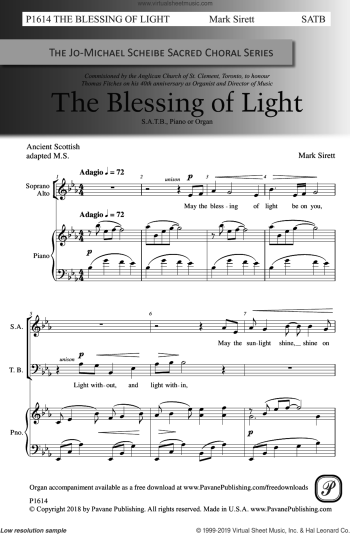 The Blessing Of Light sheet music for choir (SATB: soprano, alto, tenor, bass) by Mark Sirett, intermediate skill level