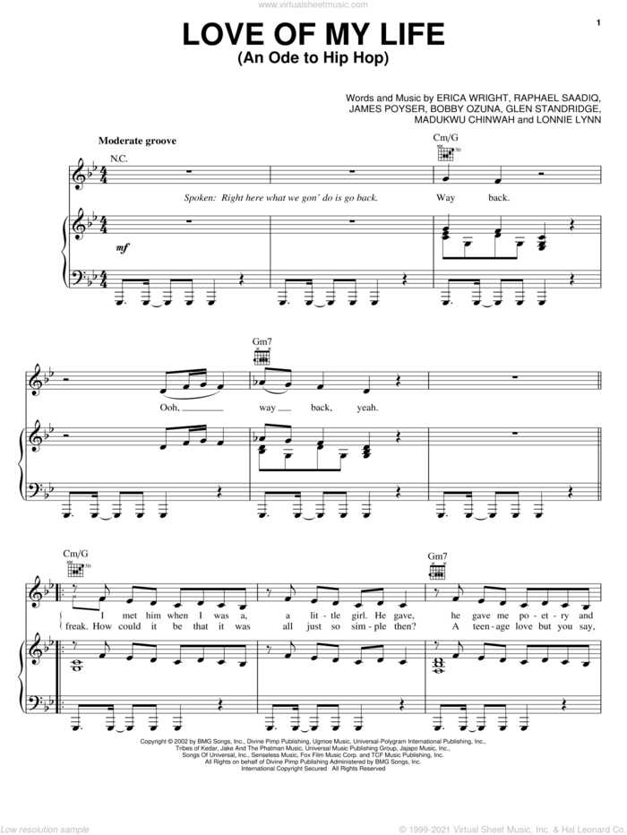 Love Of My Life (An Ode To Hip Hop) sheet music for voice, piano or guitar by Erykah Badu, Erykah Wright, James Poyser and Raphael Saadiq, intermediate skill level
