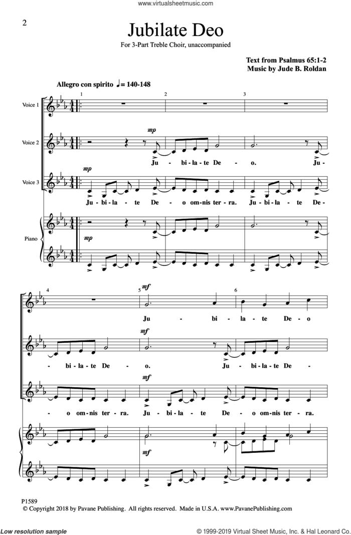 Jubilate Deo sheet music for choir (3-Part Mixed) by Jude B. Roldan, intermediate skill level