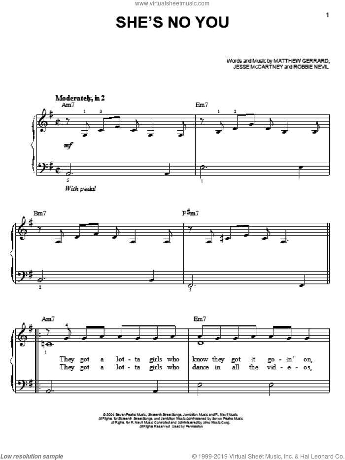 She's No You sheet music for piano solo by Jesse McCartney, Hannah Montana, Matthew Gerrard and Robbie Nevil, easy skill level