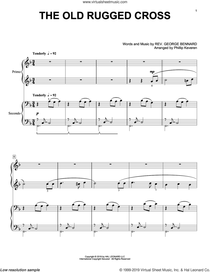 The Old Rugged Cross (arr. Phillip Keveren) sheet music for piano four hands by Rev. George Bennard and Phillip Keveren, intermediate skill level