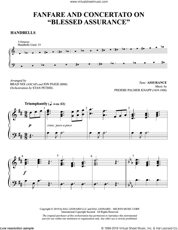 Fanfare and Concertato on 'Blessed Assurance' (arr. Brad Nix and Jon Paige) sheet music for orchestra/band (handbells) by Fanny J. Crosby, Brad Nix and Jon Paige, intermediate skill level