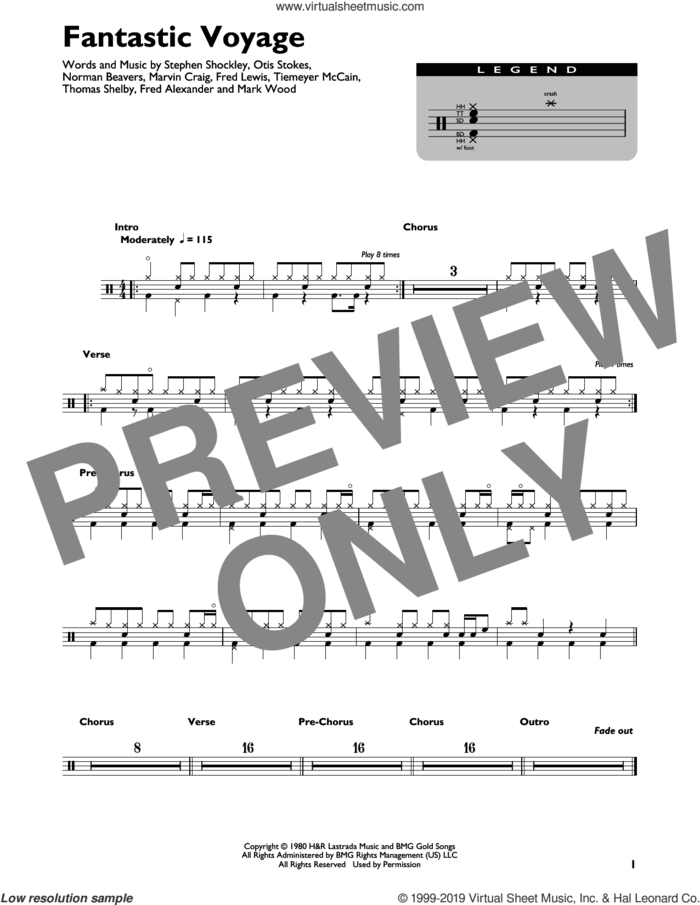 Fantastic Voyage sheet music for drums (percussions) by Coolio, Fred Alexander, Fred Lewis, Mark Wood, Marvin Craig, Norman Beavers, Otis Stokes, Stephen Shockley, Thomas Shelby and Tiemeyer McCain, intermediate skill level