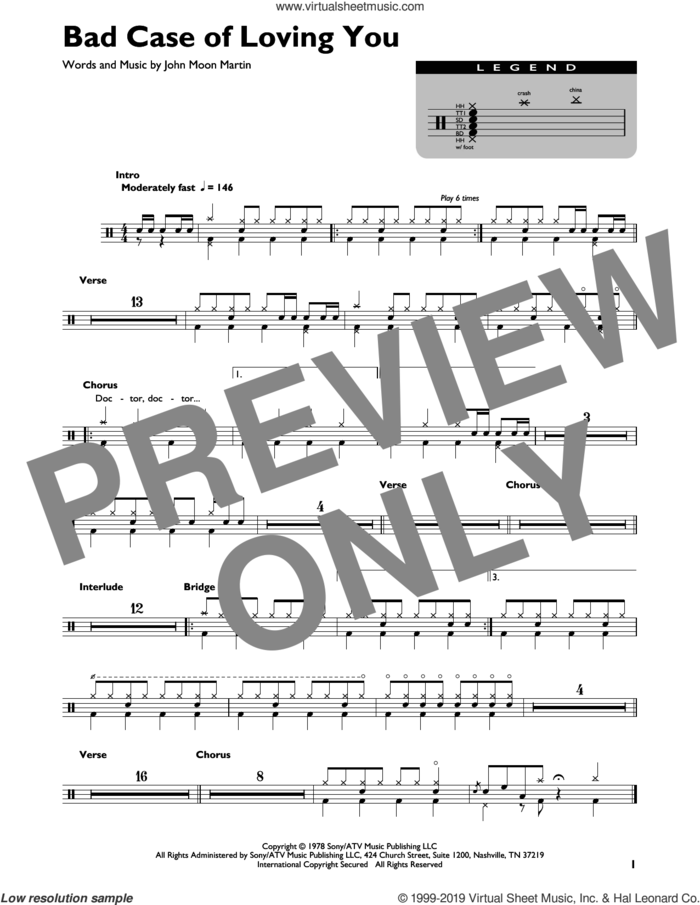 Bad Case Of Loving You sheet music for drums (percussions) by Robert Palmer and John Moon Martin, intermediate skill level
