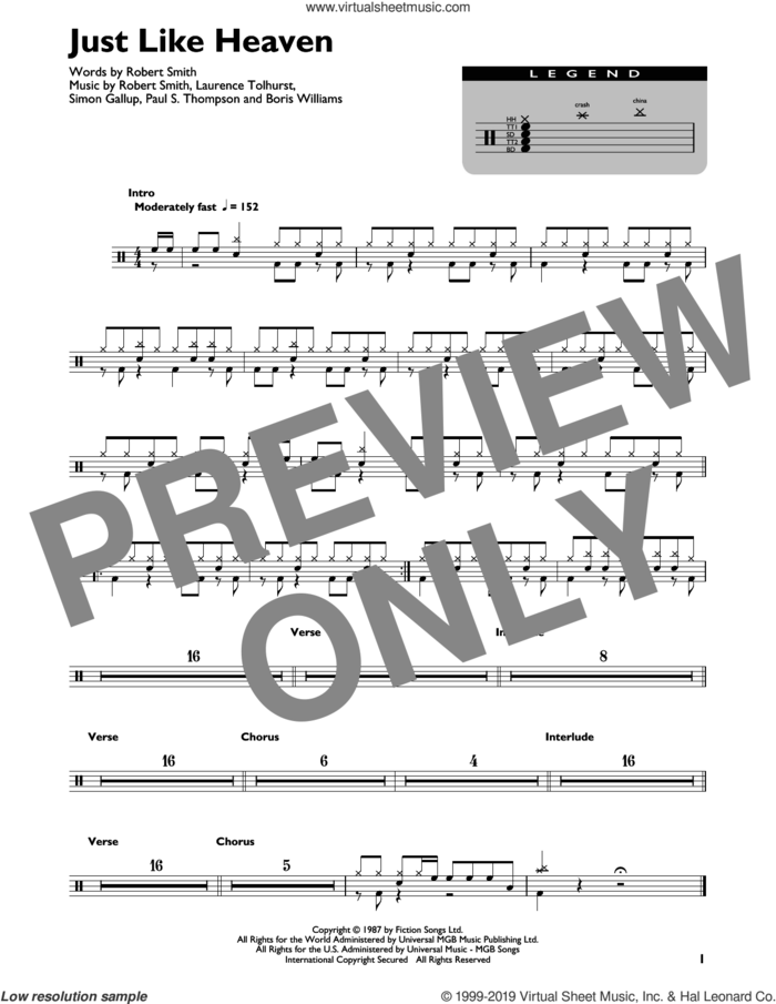 Just Like Heaven sheet music for drums (percussions) by The Cure, Boris Williams, Laurence Tolhurst, Paul S. Thompson, Robert Smith and Simon Gallup, intermediate skill level