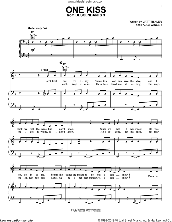 One Kiss (from Disney's Descendants 3) sheet music for voice, piano or guitar by Sofia Carson, China Anne McClain, Dove Cameron, Matt Tishler and Paula Winger, intermediate skill level