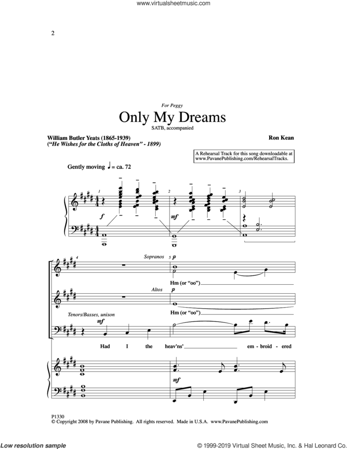 Only My Dreams sheet music for choir (SATB: soprano, alto, tenor, bass) by Ron Kean and William Butler Yeats, intermediate skill level