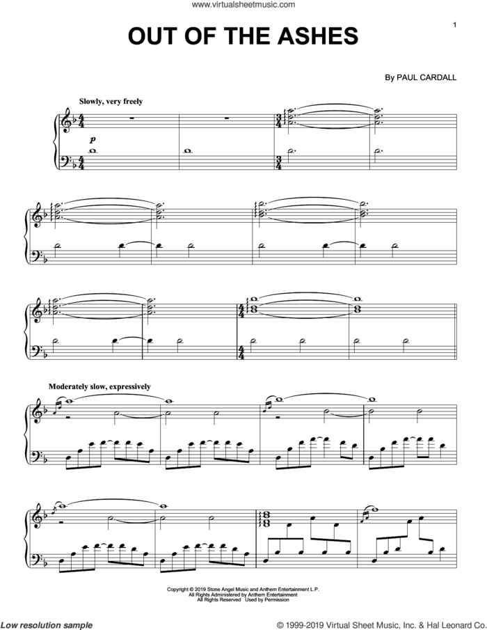 Out Of The Ashes sheet music for piano solo by Paul Cardall, intermediate skill level