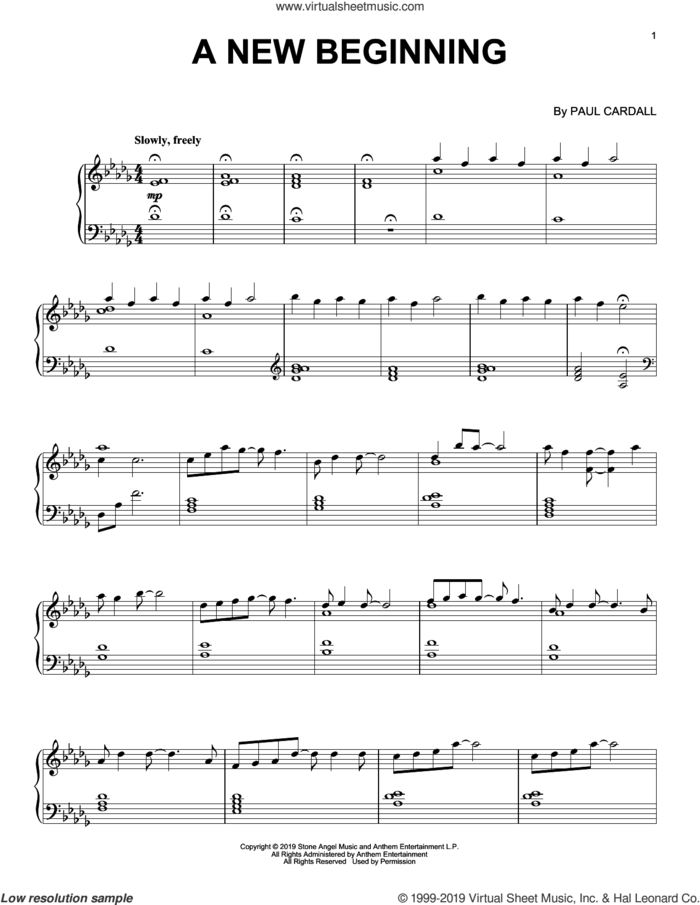 A New Beginning sheet music for piano solo by Paul Cardall, intermediate skill level