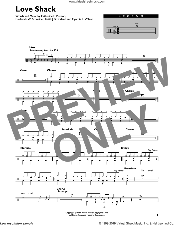 Love Shack sheet music for drums (percussions) by The B-52's, Catherine E. Pierson, Cynthia L. Wilson, Frederick W. Schneider and Keith Strickland, intermediate skill level