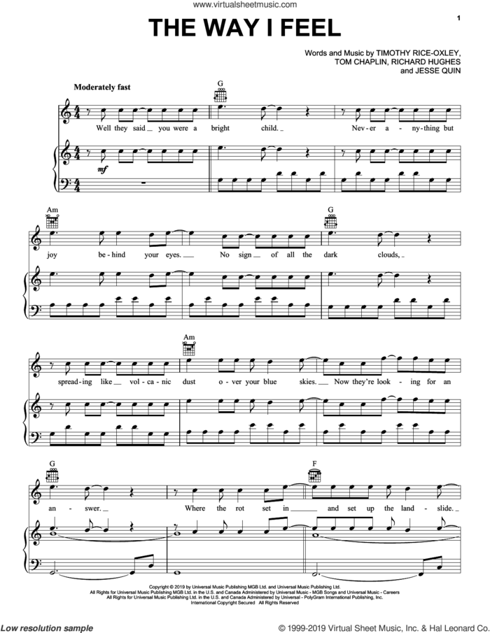 The Way I Feel sheet music for voice, piano or guitar by Tim Rice-Oxley, Jesse Quin, Richard Hughes, Timothy Rice-Oxley and Tom Chaplin, intermediate skill level