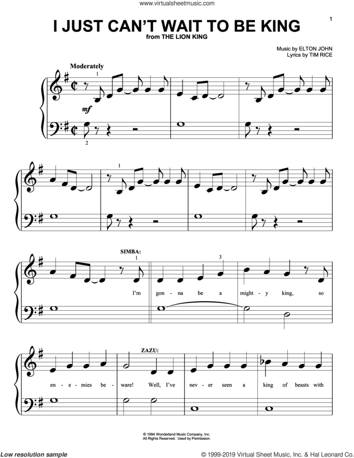 I Just Can't Wait To Be King (from The Lion King 2019) sheet music for piano solo (big note book) by Elton John and Tim Rice, easy piano (big note book)
