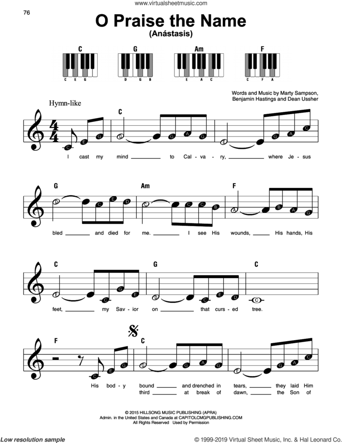 O Praise The Name (Anastasis), (beginner) sheet music for piano solo by Hillsong Worship, Benjamin Hastings, Dean Ussher and Marty Sampson, beginner skill level