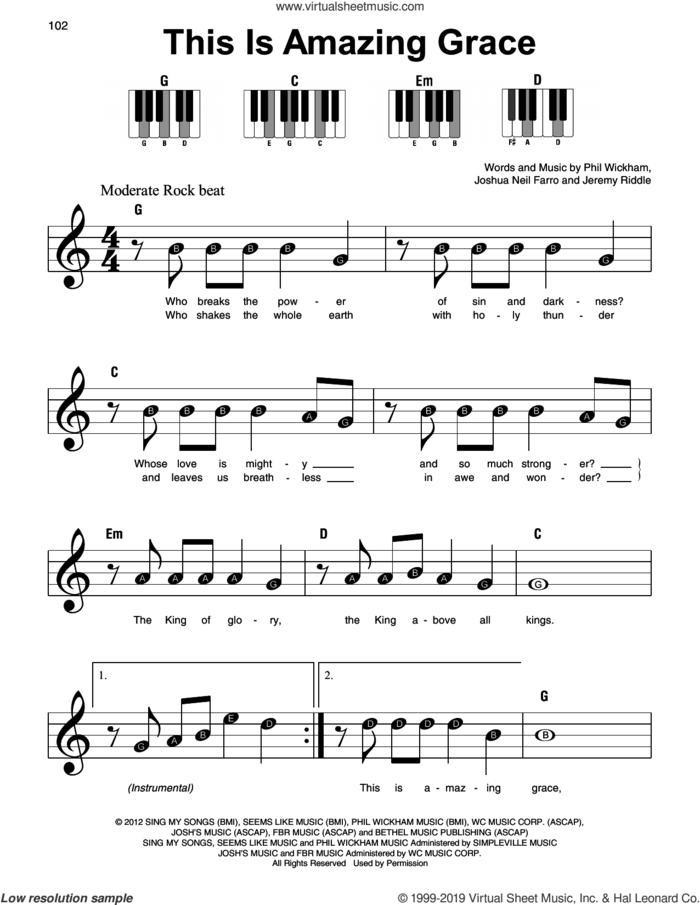 This Is Amazing Grace sheet music for piano solo by Phil Wickham, Jeremy Riddle and Joshua Neil Farro, beginner skill level