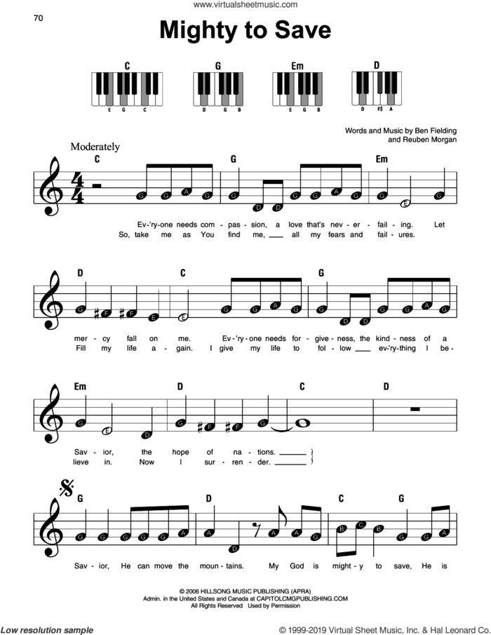 Mighty To Save sheet music for piano solo by Hillsong Worship, Ben Fielding and Reuben Morgan, beginner skill level