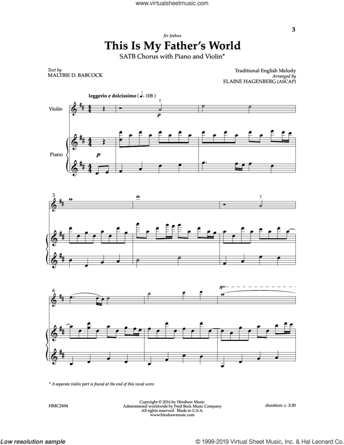 This Is My Father's World sheet music for choir (SATB: soprano, alto, tenor, bass) by Elaine Haggenberg and Maltbie D. Babcock, intermediate skill level