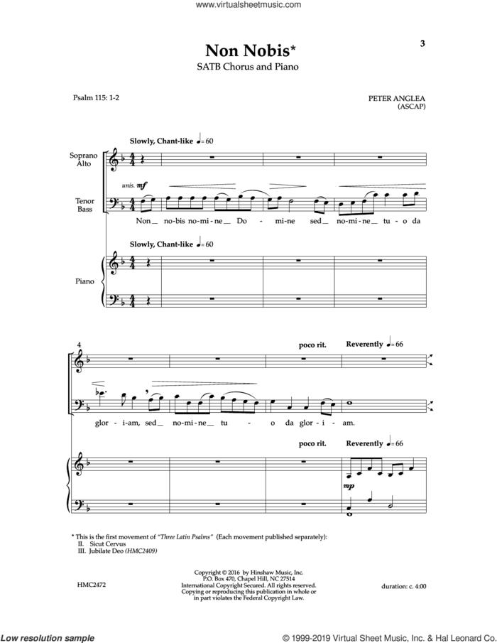 Non Nobis sheet music for choir (SATB: soprano, alto, tenor, bass) by Peter Anglea, intermediate skill level