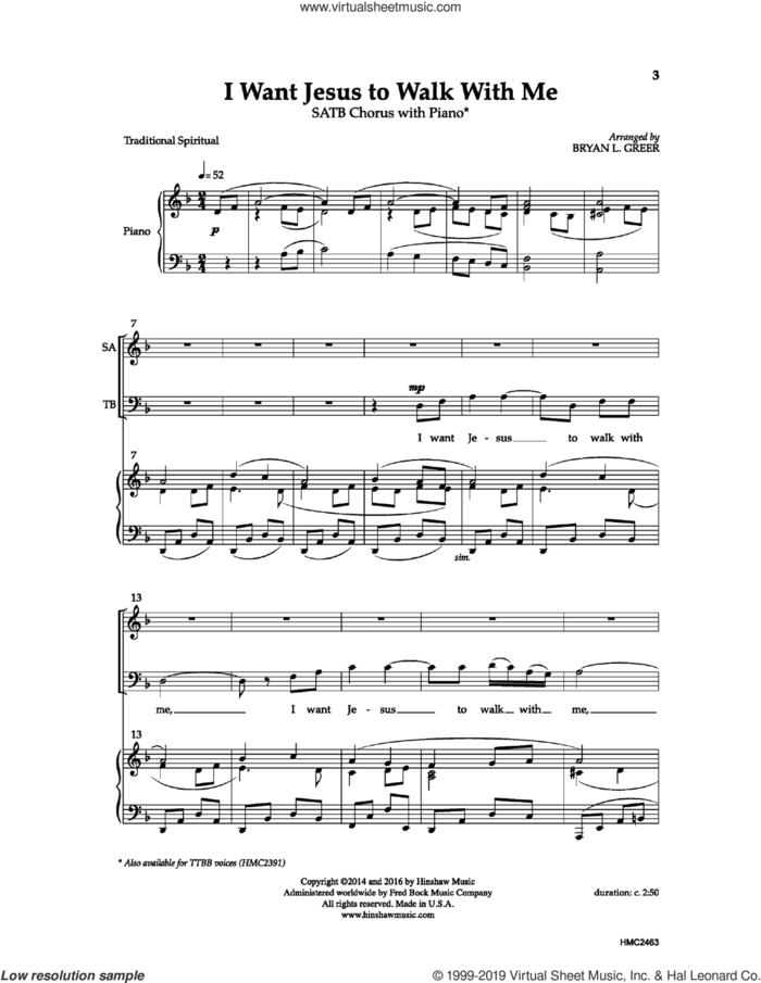 I Want Jesus To Walk With Me sheet music for choir (SATB: soprano, alto, tenor, bass) by Bryan Greer, intermediate skill level