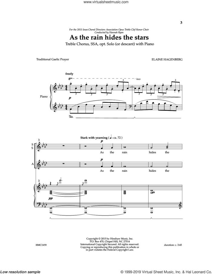 As The Rain Hides The Stars sheet music for choir (SSA: soprano, alto) by Elaine Hagenberg, intermediate skill level